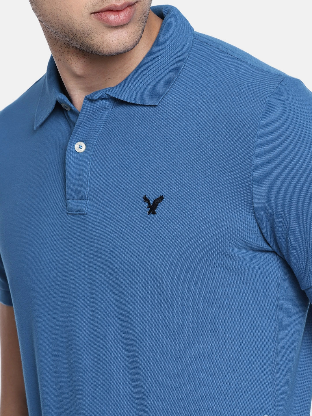 1e12b5fa Buy AMERICAN EAGLE OUTFITTERS Men Blue Solid Polo T Shirt - Tshirts ...