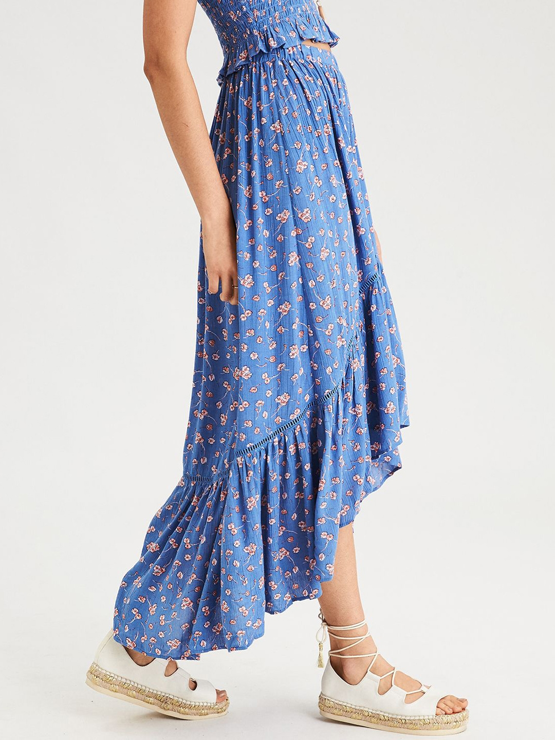 79248ca5b Buy AMERICAN EAGLE OUTFITTERS Women Blue Floral High Low Skirt ...