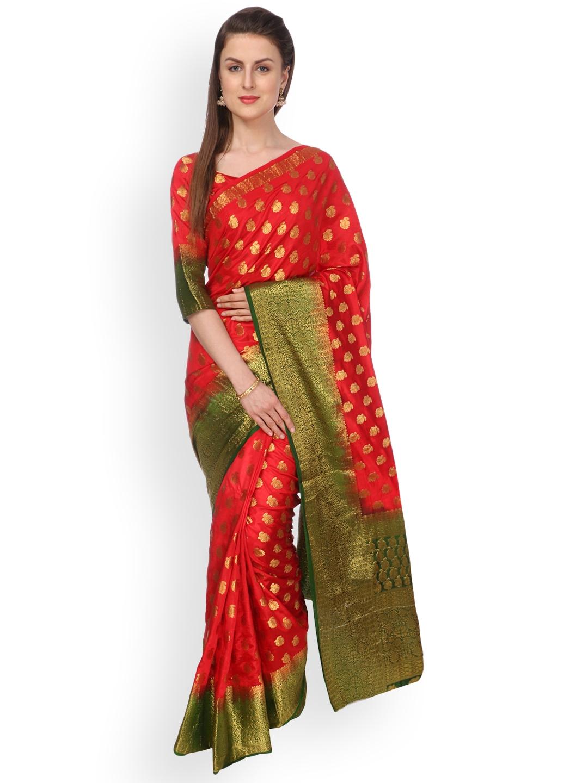 1b6462bdebb Buy Ashika Red   Green Pure Silk Woven Design Tussar Silk Saree ...
