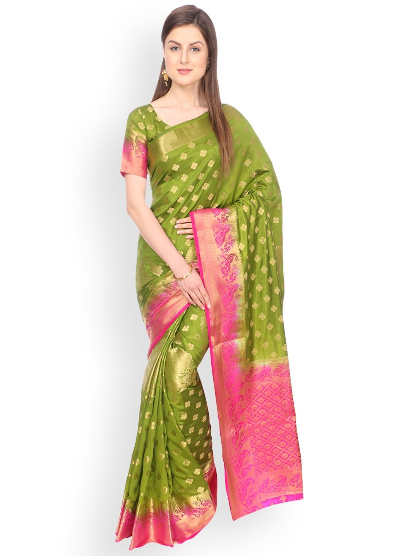 5abbf14b04a Buy Ashika Green Pure Silk Woven Design Tussar Silk Saree - Sarees ...