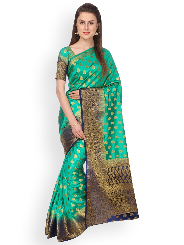 63918a65b4c Buy Ashika Sea Green Pure Silk Woven Design Tussar Silk Saree ...
