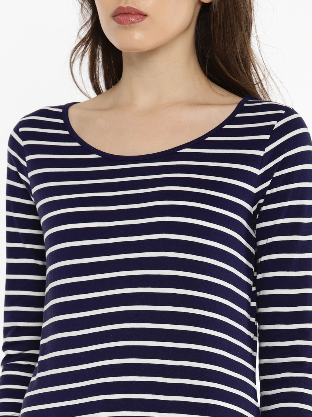 9b1f458cc7b96d Buy Fame Forever By Lifestyle Women Navy Blue & White Striped Top ...