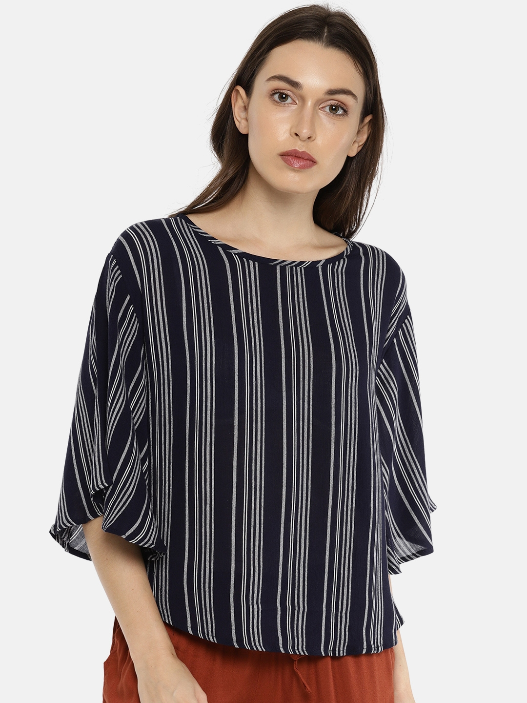 7bfa8232ef Buy Fame Forever By Lifestyle Women Navy & White Striped Top - Tops ...