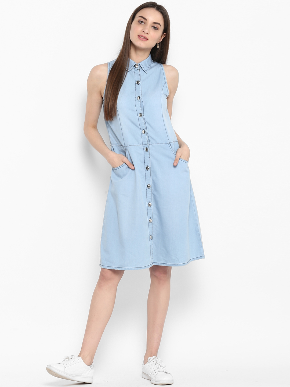 StyleStone Women Blue Solid Denim Shirt Dress