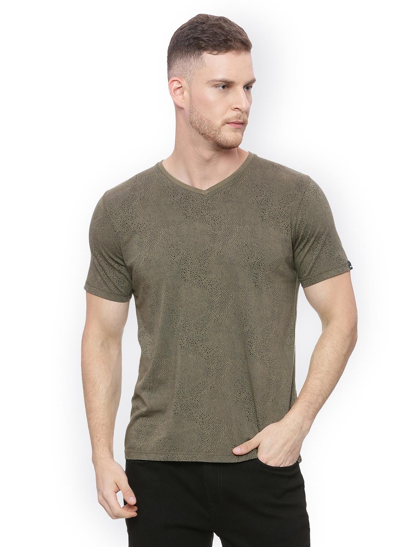 3c41c55a Buy Basics Men Olive Green Printed V Neck T Shirt - Tshirts for Men ...