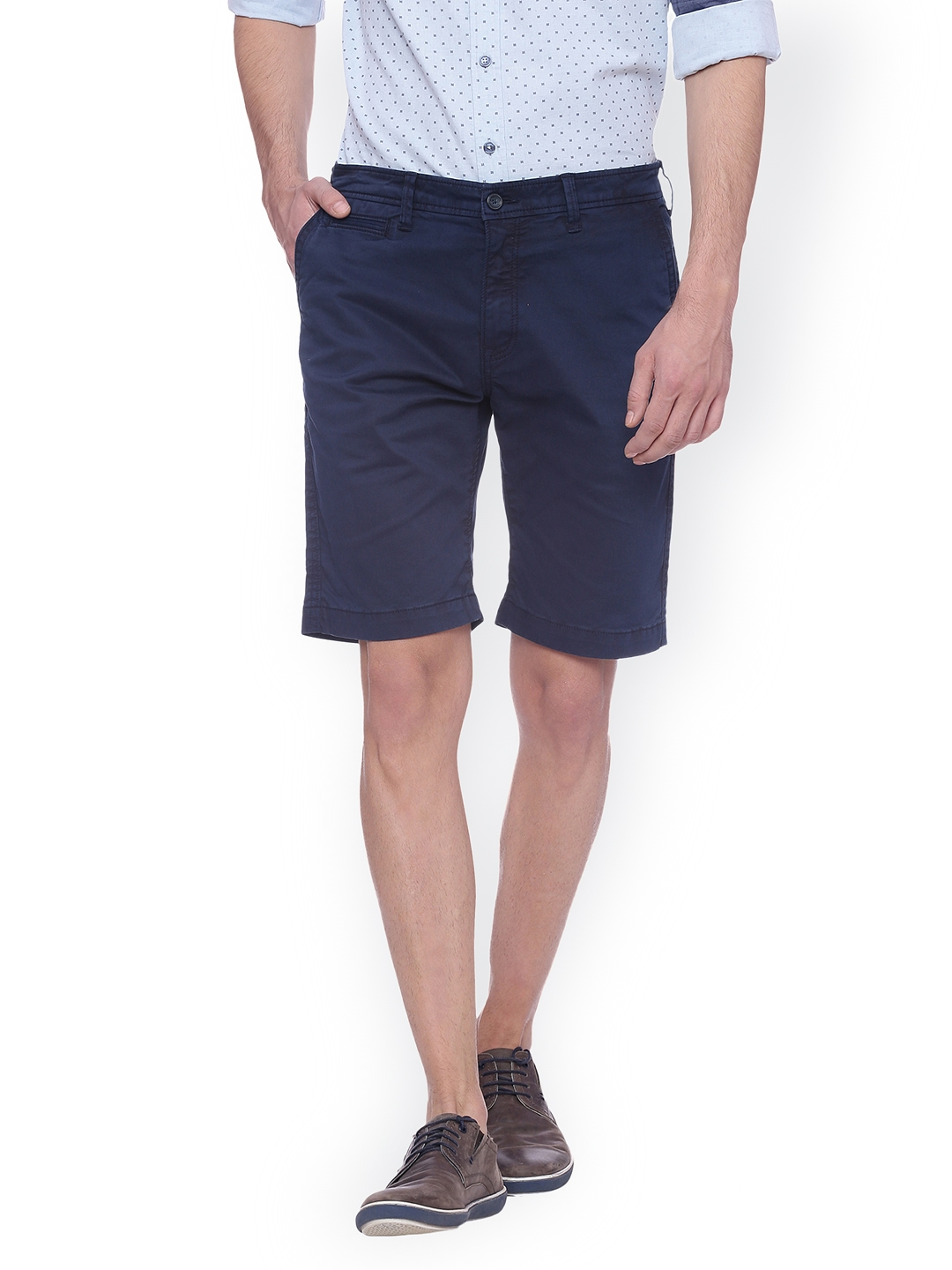 Basics Men Navy Blue Solid Regular Fit Regular Shorts