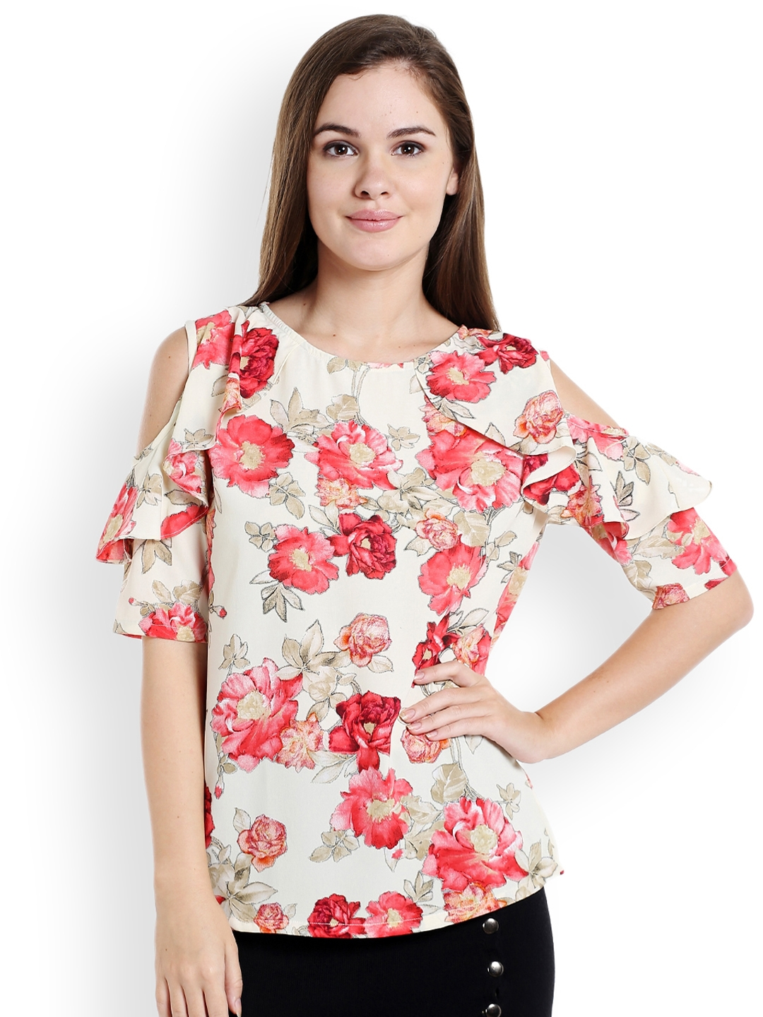 931f7255c636 Buy Ishin Women White Floral Print Cold Shoulder Top - Tops for ...