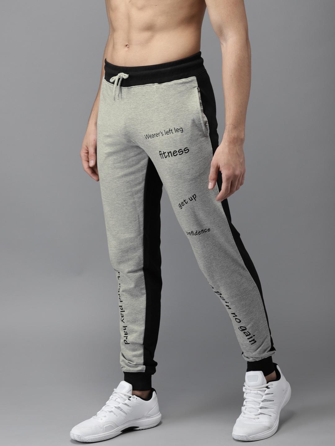 HERE&NOW Grey Melange & Navy Blue Printed Joggers