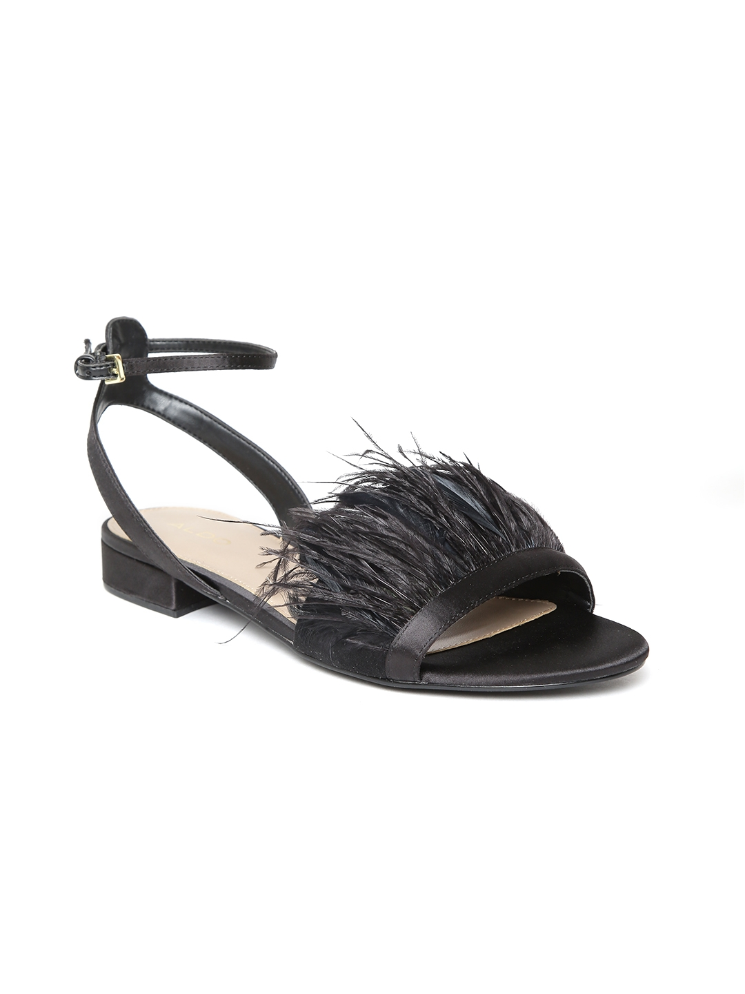 dc449d1c842 Buy ALDO Women Black Faux Feather Open Toe Flats - Flats for Women ...