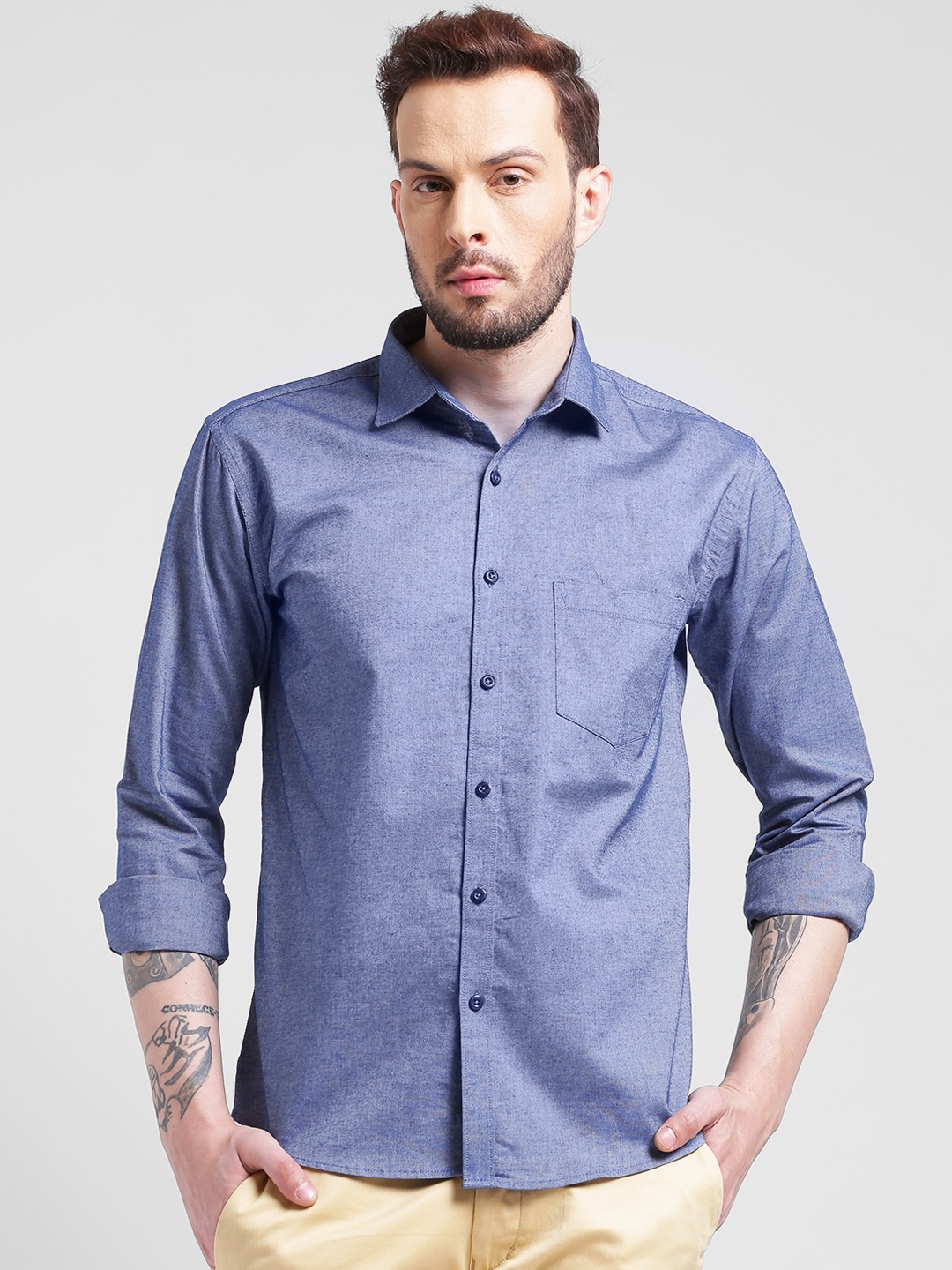 Being Fab Men Navy Blue Smart Slim Fit Solid Casual Shirt