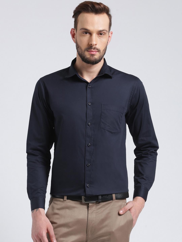 Being Fab Men Navy Blue Smart Regular Fit Solid Formal Shirt