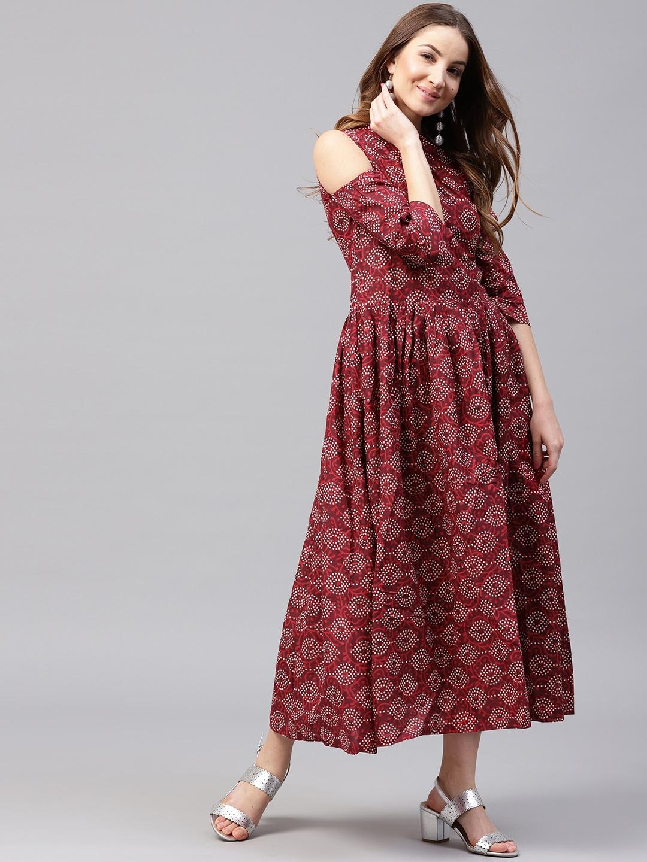 c6920bece2b3 Buy Nayo Women Maroon & Off White Printed Maxi Dress - Dresses for ...