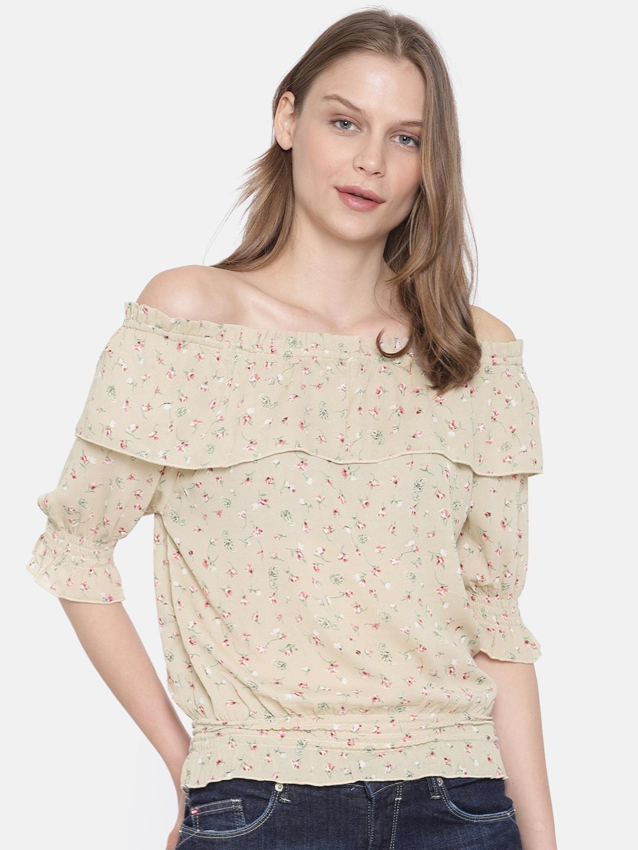 2229f0640b5d88 Buy Lee Cooper Women Camel Brown Printed Bardot Top - Tops for Women ...