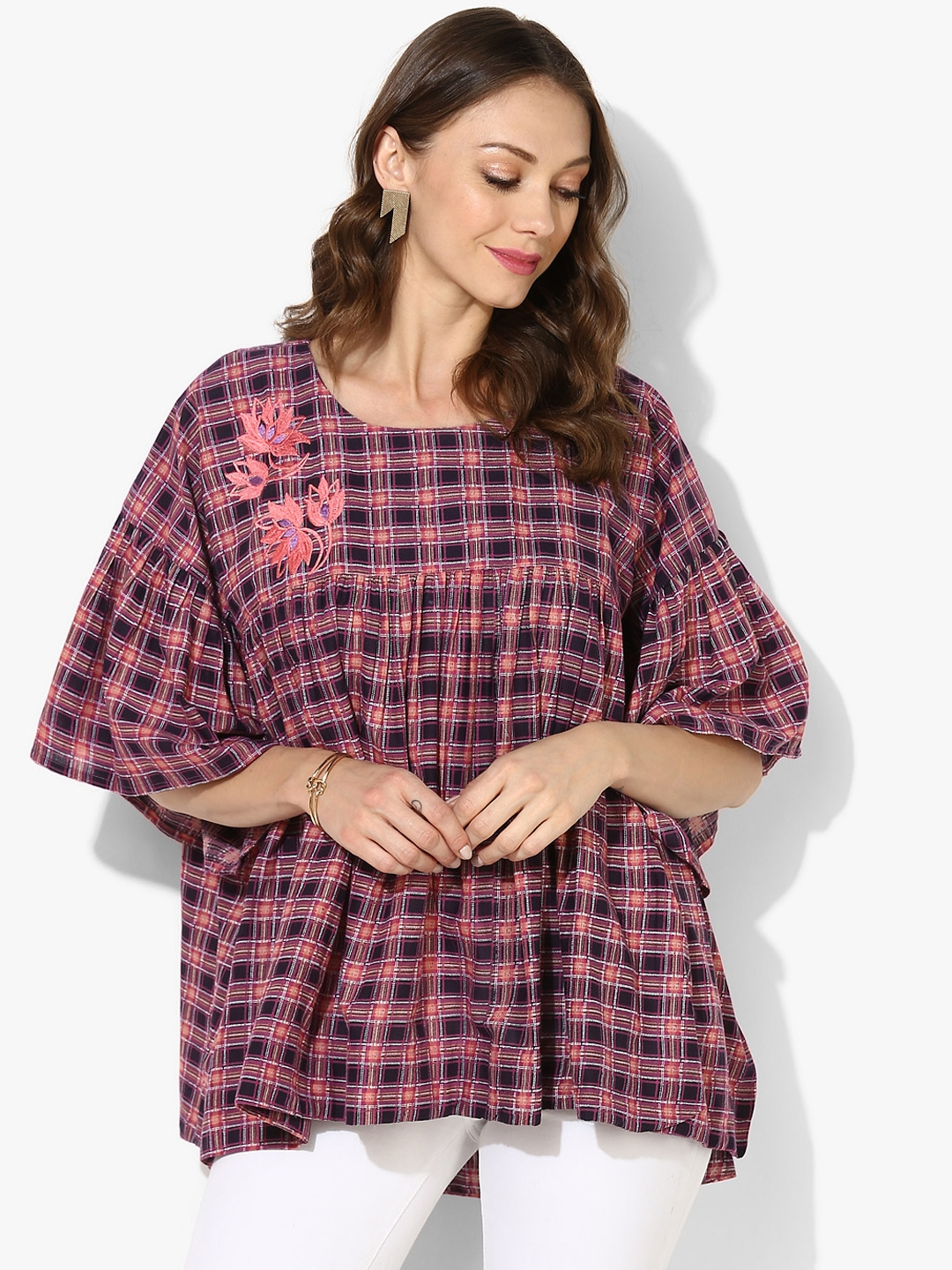 0ca6a4805e147f Round Neck Printed Cotton Top With Embroidered Yoke And High Low Hem Detail