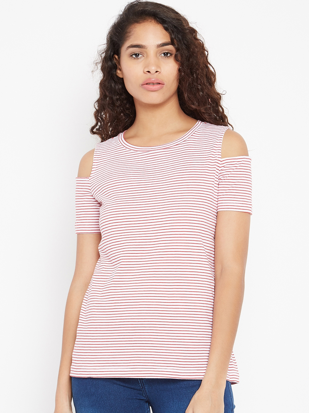 586e2c976f76b9 Buy Cottonworld Women White   Red Striped Cold Shoulder Top - Tops ...