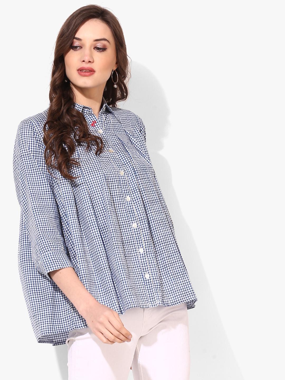 4c409243c Buy Sangria Women Blue Boxy Checked Casual Shirt - Shirts for Women ...