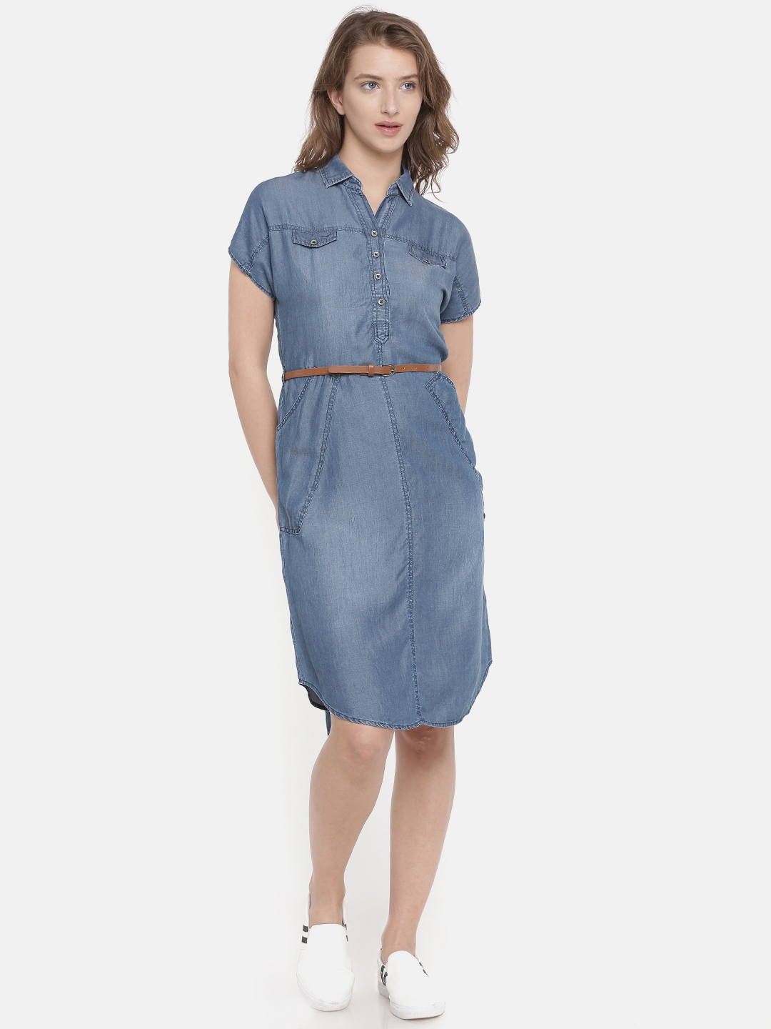 Buy Deal Jeans Women Blue Solid Chambray Shirt Dress Dresses For