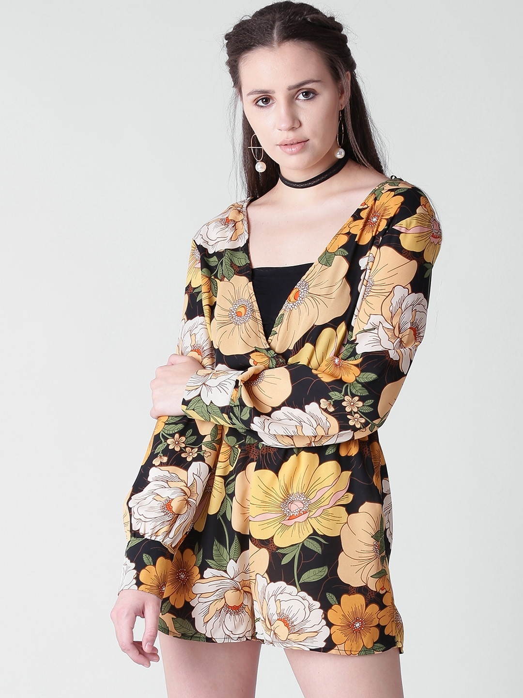 56e5f54924 Buy FOREVER 21 Black   Mustard Yellow Floral Print Playsuit ...