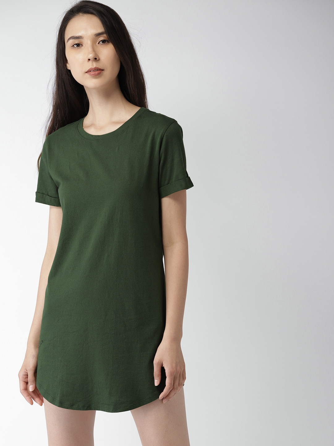 ef9df2d83e0b Buy FOREVER 21 Women Green Solid T Shirt Dress - Dresses for Women ...