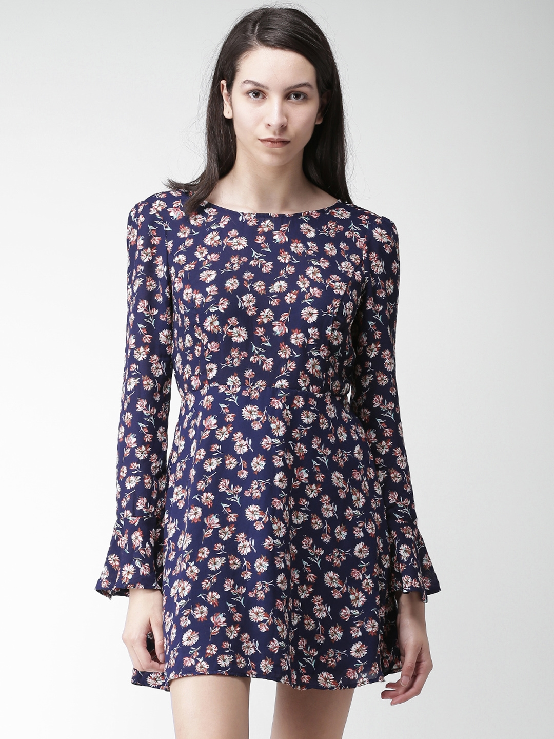 54eef512bfa6 Buy FOREVER 21 Women Navy Blue Printed Fit And Flare Dress - Dresses ...