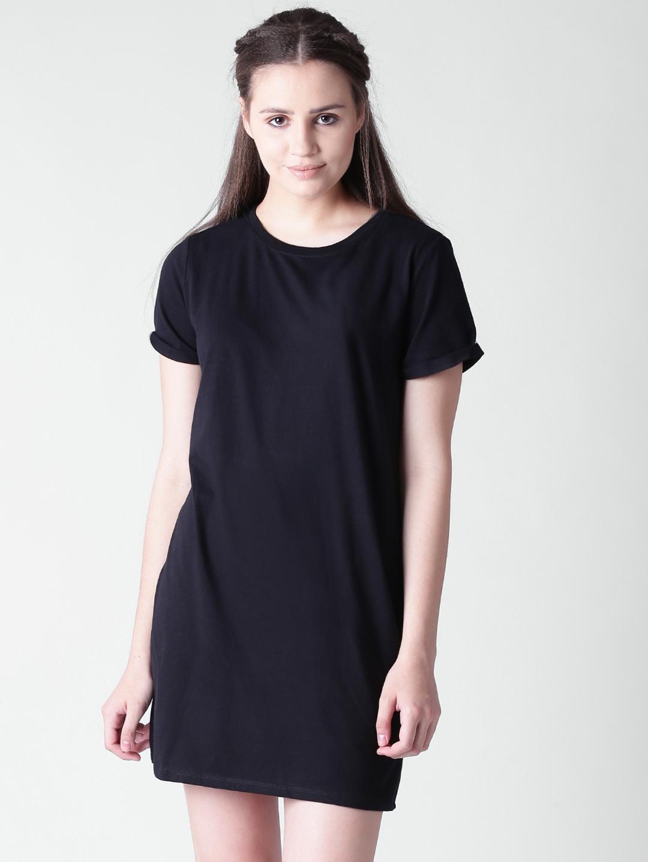 8a46972baf7e Buy FOREVER 21 Women Black Solid T Shirt Dress - Dresses for Women ...