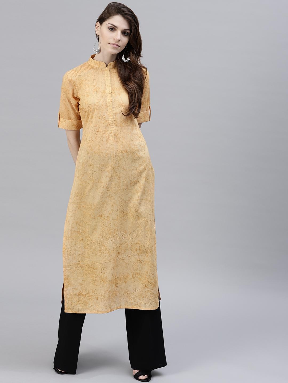 c0c2c1808e Buy GERUA Women Yellow Printed Straight Kurta - Kurtas for Women ...