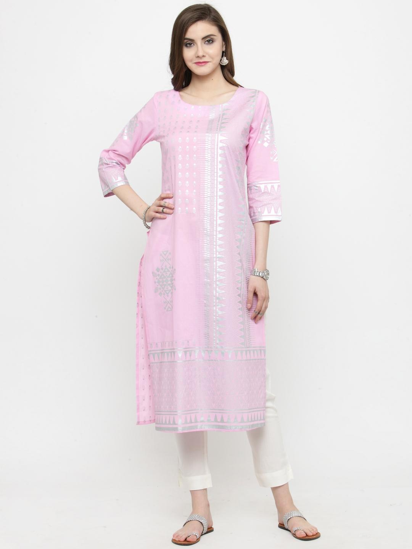 4b8221e5b673c3 Buy Varanga Pink Foil Print Straight Kurta - Kurtas for Women ...