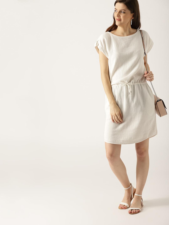 Buy ESPRIT Women White Solid Blouson Dress - Dresses for Women ... e5916e40977b7
