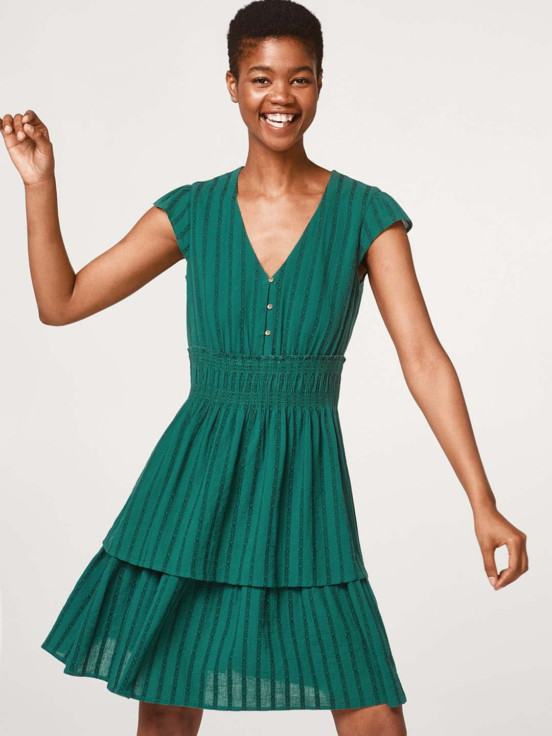 76879d5a4cf077 Buy ESPRIT Women Green Self Striped Fit   Flare Dress - Dresses for ...