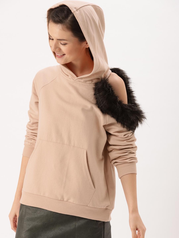 DressBerry Women Peach-Coloured Solid Hooded Sweatshirt