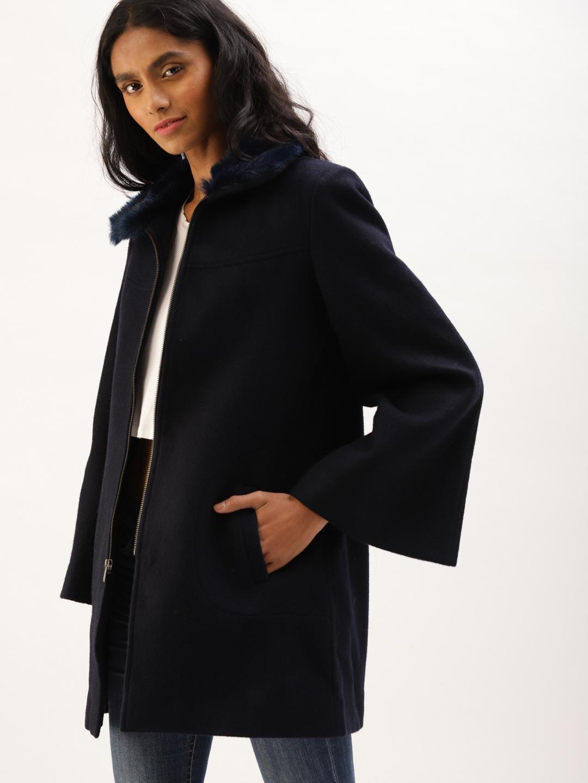 8dc11e7f2ea Buy DressBerry Women Navy Blue Solid Parka Coat - Coats for Women ...