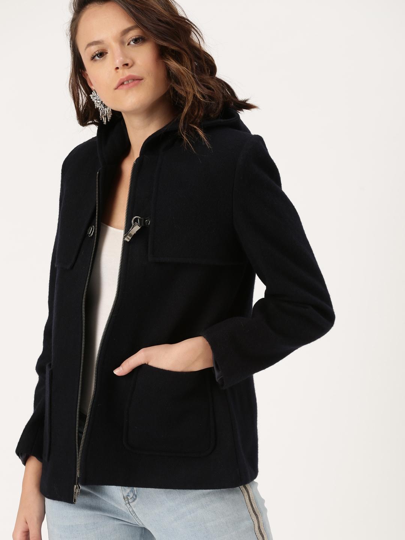 a6a351dcca1 Buy DressBerry Women Navy Blue Solid Tailored Woollen Jacket ...