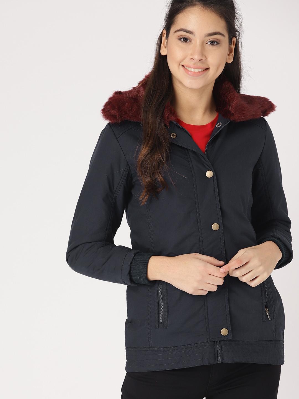793801aa189 DressBerry Women Navy Blue Solid Padded Jacket