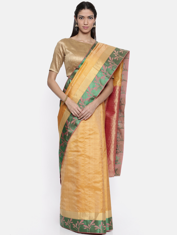 The Chennai Silks Classicate Yellow Woven Design Pure Silk Saree