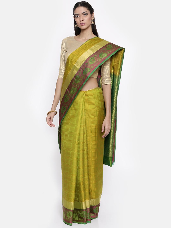 The Chennai Silks Classicate Olive Green Woven Design Pure Silk Saree