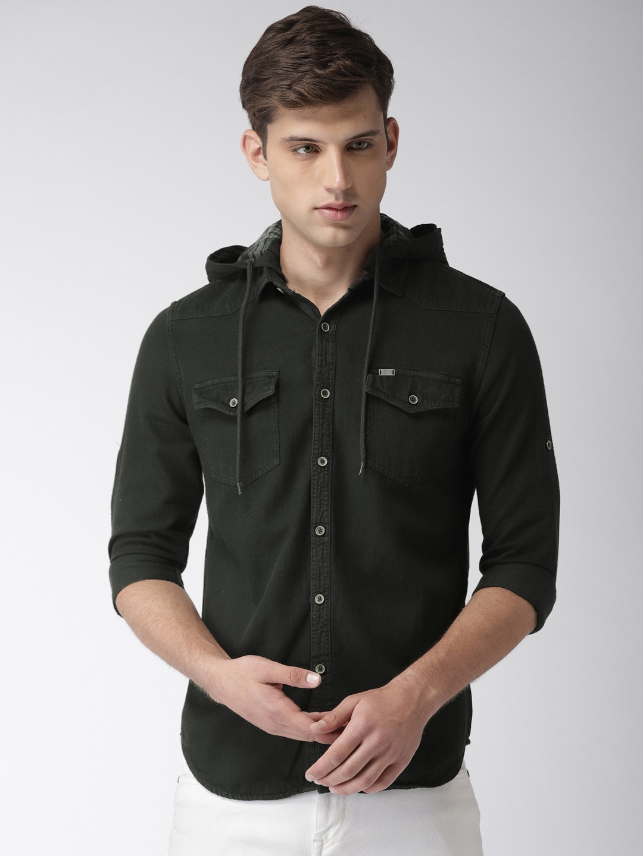 LOCOMOTIVE Men Black Slim Fit Solid Denim Casual Shirt