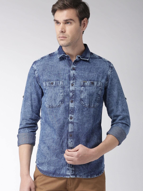 LOCOMOTIVE Men Blue Slim Fit Solid Denim Casual Shirt