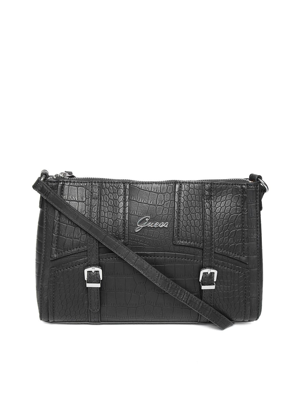 Buy GUESS Black Textured Sling Bag - Handbags for Women 5524162   Myntra b72972a4b4