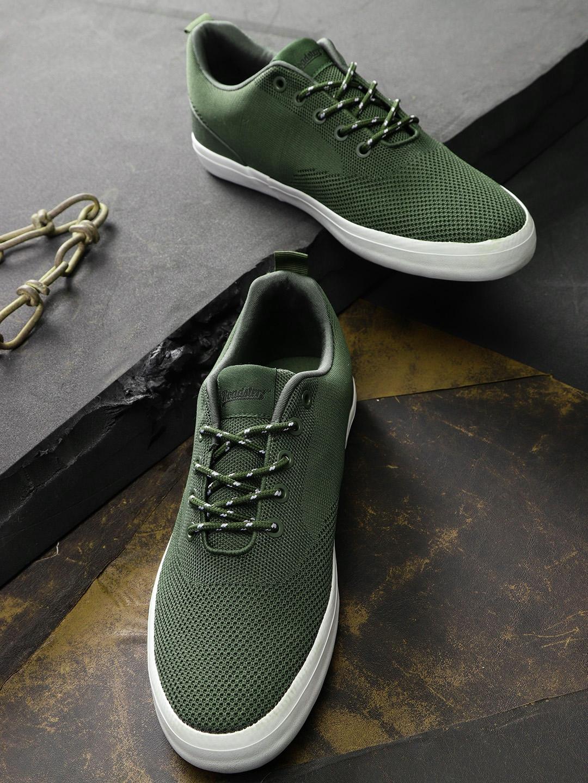 Buy Roadster Men Olive Green Sneakers