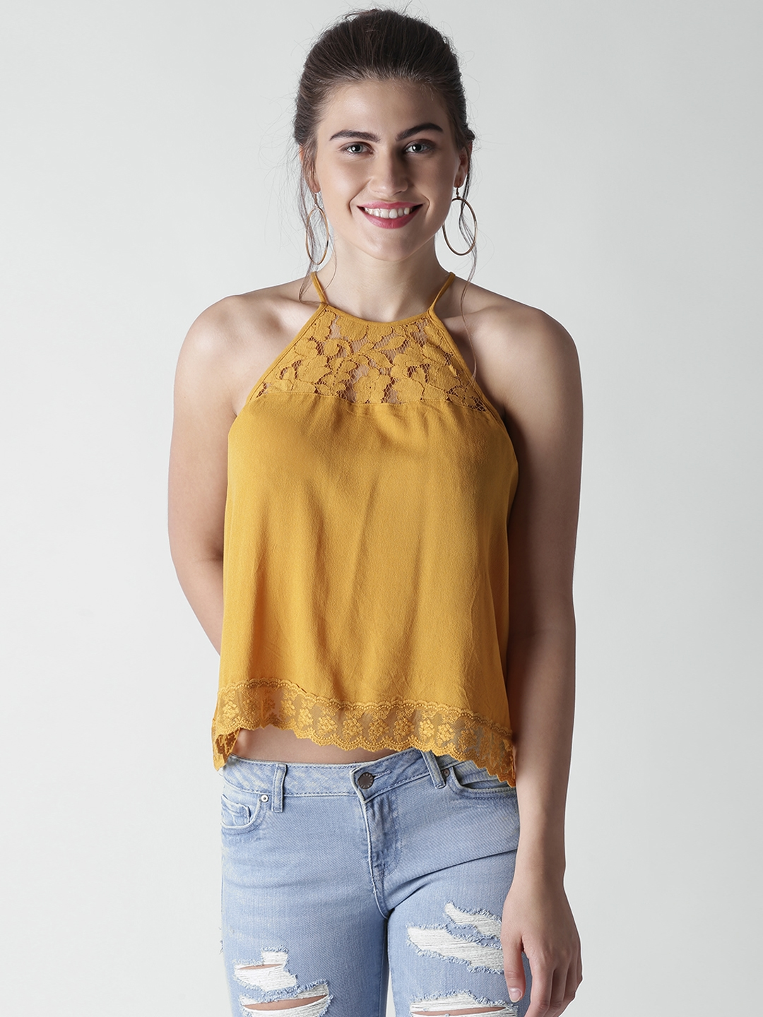 d26458f1a8f28 Buy FOREVER 21 Women Mustard Yellow Solid A Line Top - Tops for ...