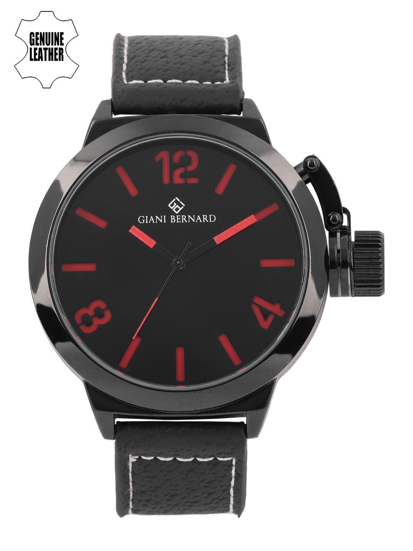 Giani Bernard Men Black   Red Analogue Watch  GB 124A