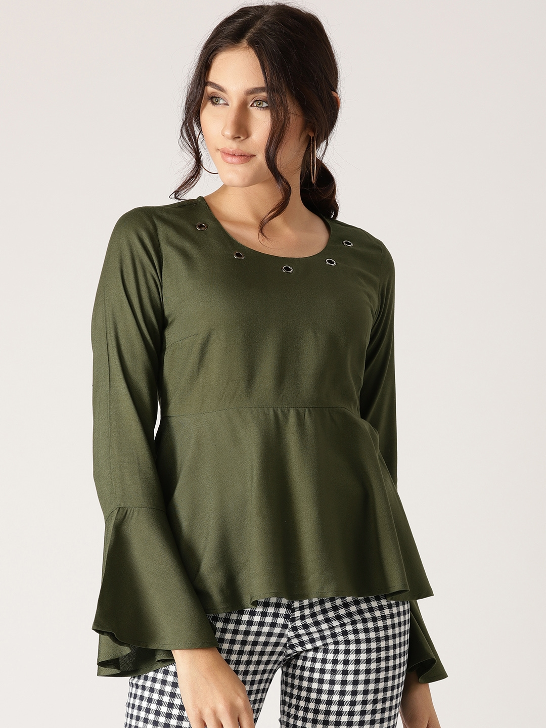 0e0986f93829 Buy AKS Couture Women Olive Green Solid Peplum Top - Tops for Women ...