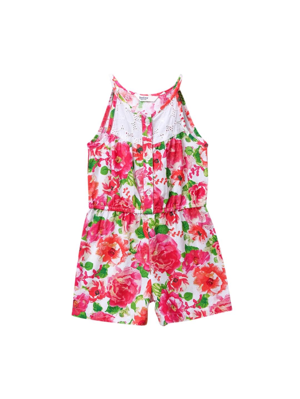 1090dae76b4 Buy Beebay Girls Pink   Green Printed Playsuit - Jumpsuit for Girls ...