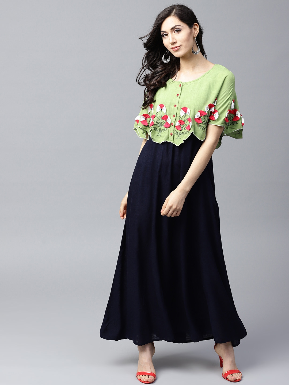 a903ceb295 Buy AKS Women Navy Blue & Green Layered Maxi Dress - Dresses for ...