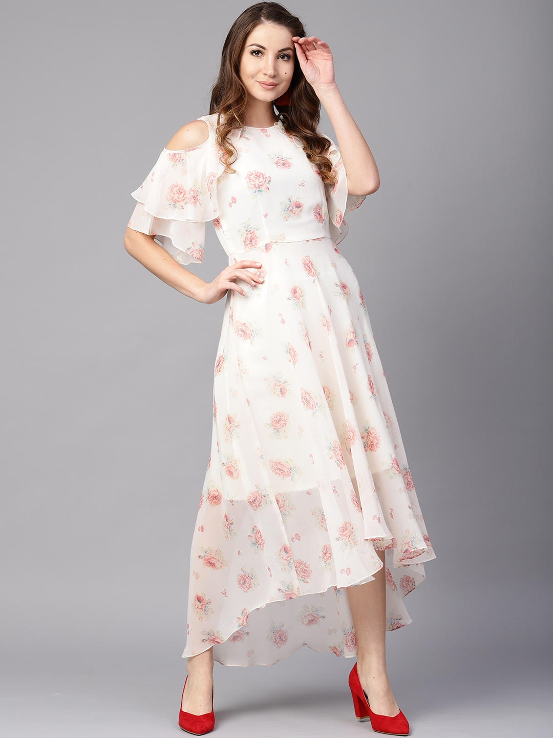 7d8f2e2bd385 Buy Athena Women Off White Floral Print Cold Shoulder Maxi Dress ...