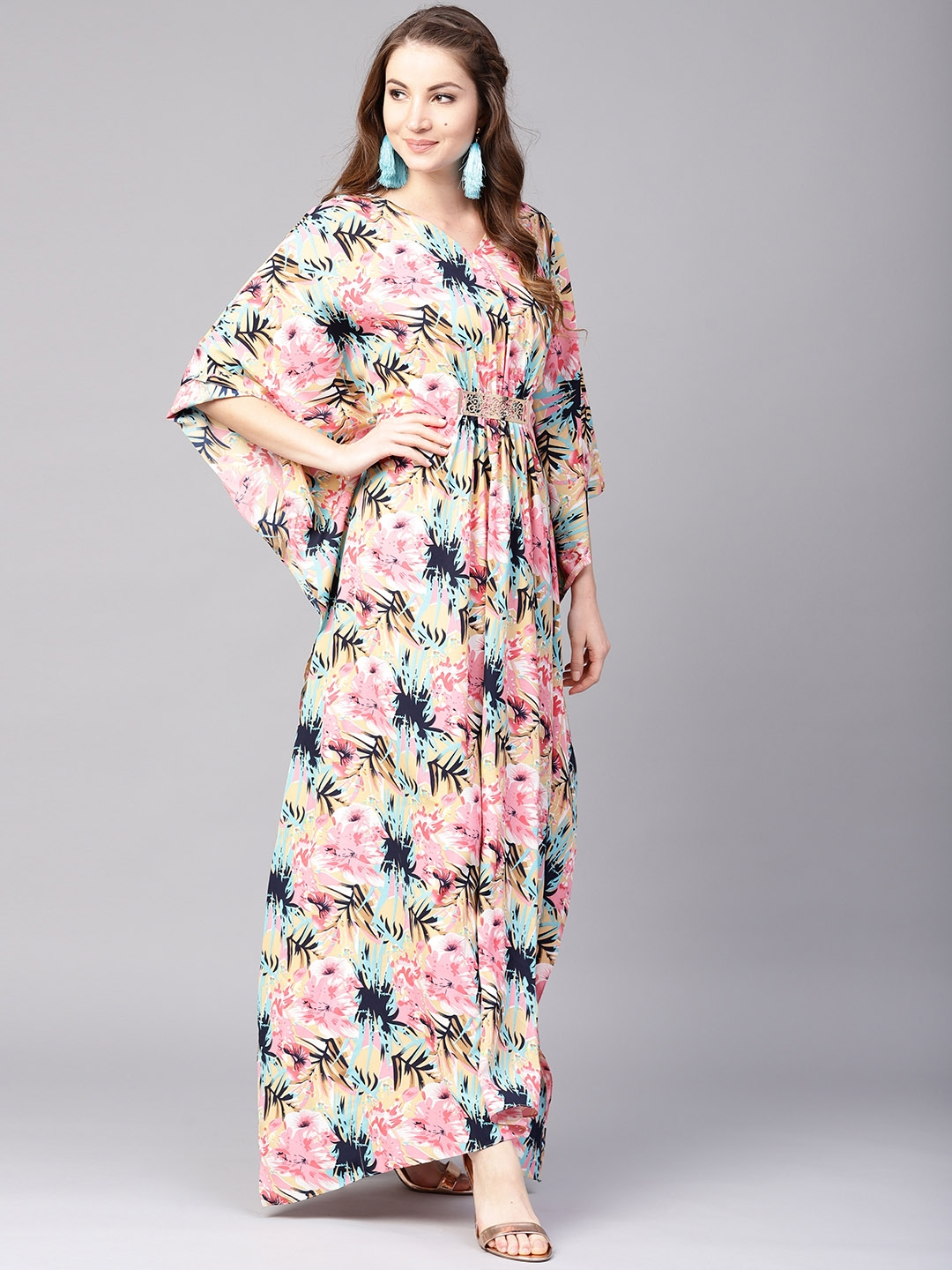 818d715a50 Buy Athena Women Pink   Navy Printed Maxi Kaftan Dress - Dresses for ...