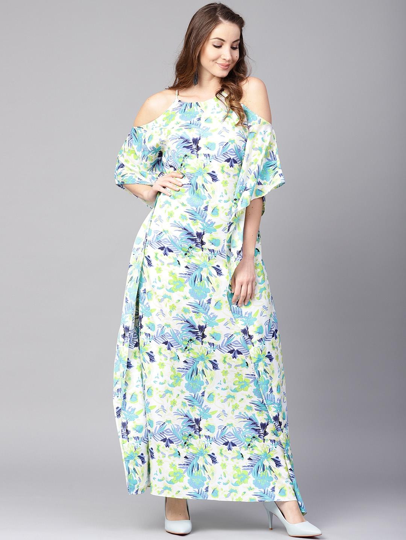 1af0f31d462 Buy Athena Women White   Blue Printed Cold Shoulder Maxi Kaftan ...