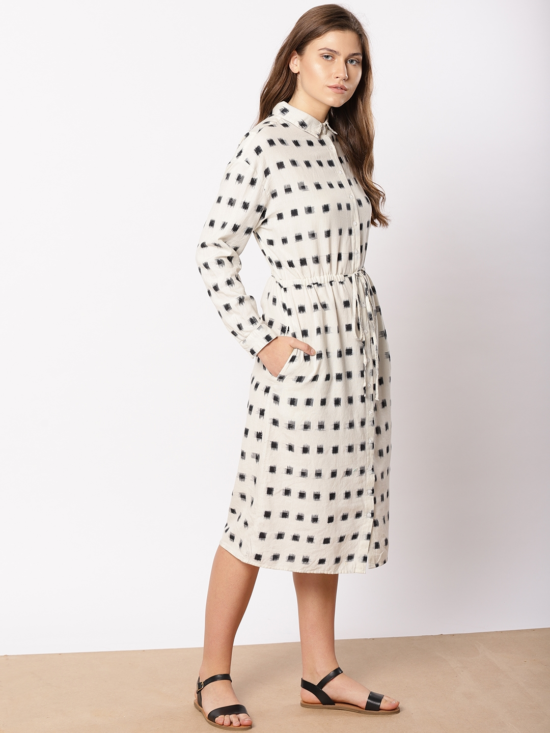 be3fa639588 Buy Ether Women Off White   Black Handcrafted Ikat Print Shirt Dress ...