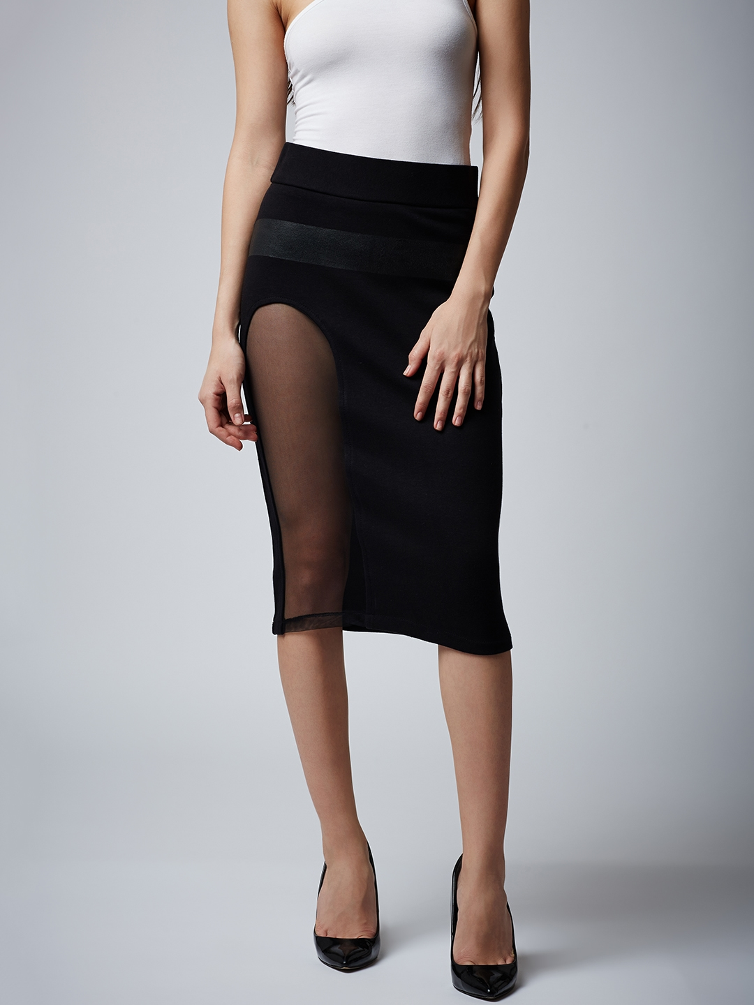 314e2ed3c3 Buy Rider Republic Black Solid Knee Length Pencil Skirt With Mesh ...