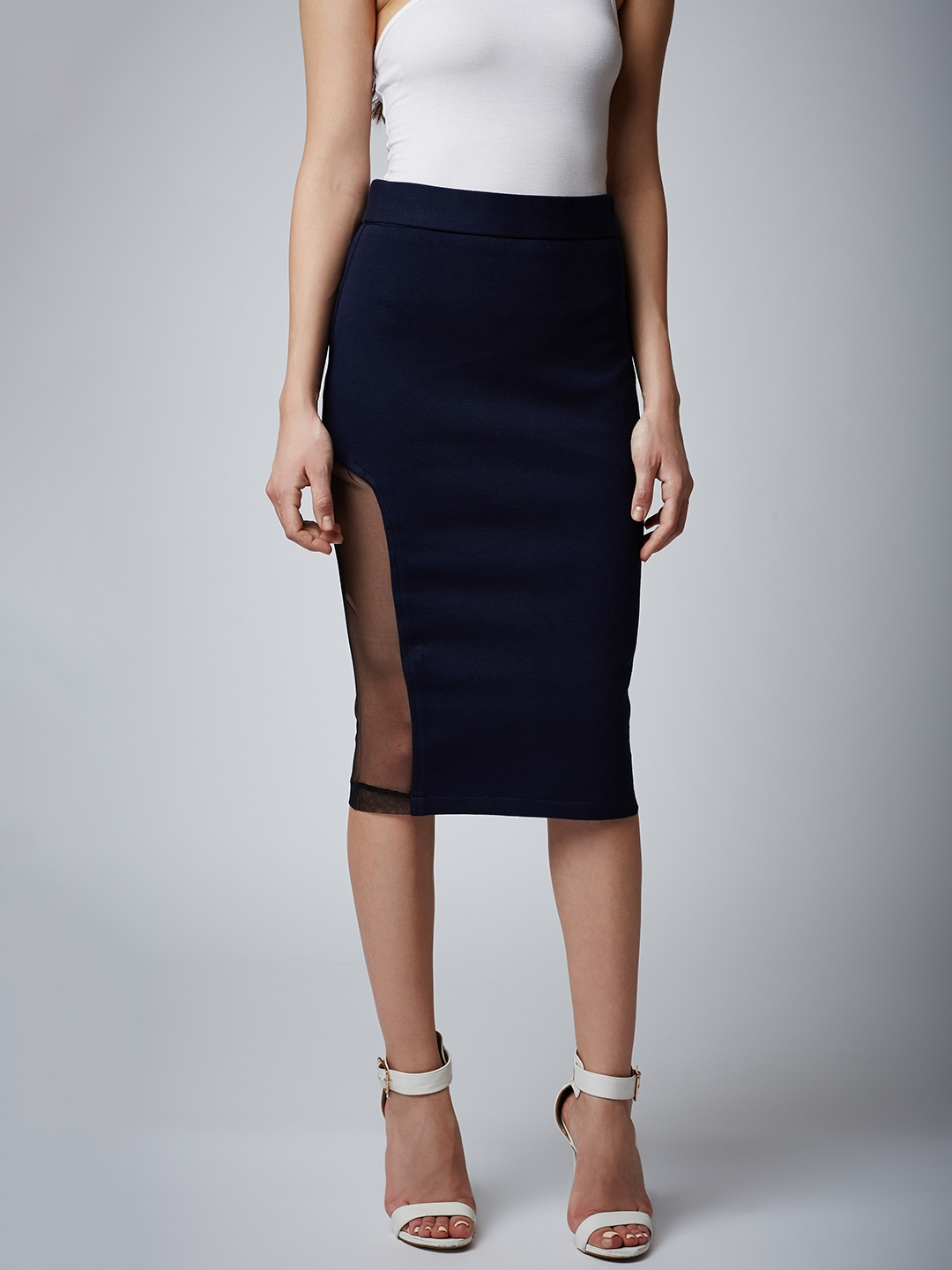 04f8f0ebe6 Buy Rider Republic Navy Blue Solid Knee Length Pencil Skirt - Skirts ...